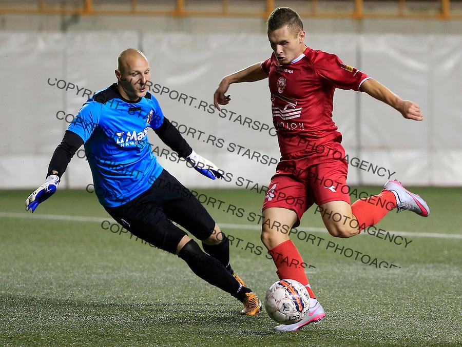 Fudbal Jelen Super League season 2015-2016<br /> Vozdovac v Javor Matis (Ivanjica)<br /> Elmir Asani (R) and goalkeeper Vladan Djogatovic<br /> Beograd, 13.09.2015.<br /> foto: Srdjan Stevanovic/Starsportphoto&copy;