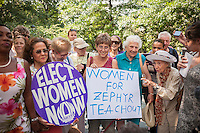 Democratic NYS gubernatorial candidate Zephyr Teachout vocal supporters at a news conference in New York on Tuesday, August 26, 2014  about receiving the endorsement of the National Organization of Women-NYS in her candidacy for governor of New York State. Teachout, a Fordham University law professor is considered a long shot in the Democratic primary on Sept. 9 against well-funded incumbent Gov. Andrew Cuomo but supporters encourage voters to cast their ballot as a vote against Cuomo. The event was held at the Eleanor Roosevelt statue in Riverside Park on Women's Equality Day. (© Richard B. Levine)