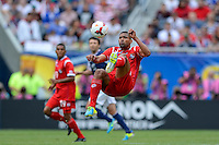 Chicago, IL - Sunday July 28, 2013:  Panama player Gabriel Gomez (6) does a bicycle kick to clear a ball during the CONCACAF Gold Cup Finals soccer match between the USMNT and Panama, at Soldier Field in Chicago, IL.
