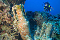 Kas, Antalya, Turkey, October 2007. Divers explore the warm mediterranean waters. The waters are full of ancient greek artifacts, amphorae. Dicovery divers can also enjoy their first introduction to diving. Photo by Frits Meyst / MeystPhoto.com