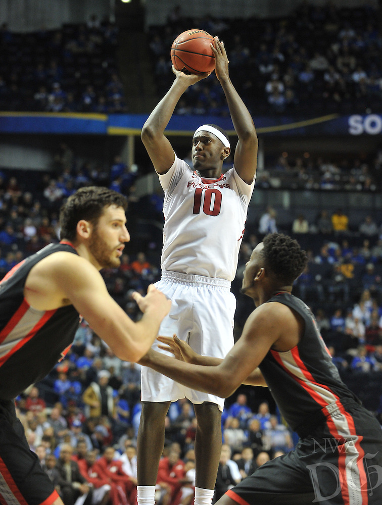 NWA Democrat-Gazette/Michael Woods --03/14/2015--w@NWAMICHAELW... University of Arkansas forward Bobby Portis pulls up for a jump shot in the first half of the Razorbacks 60-49 win in Saturdays game against the Georgia Bulldogs at the 2015 SEC basketball tournament at Bridgestone Arena in Nashville.