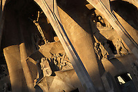 Via Dolorosa ; Jesus? burial ; The three Marys weeping, Passion façade, completed late 1980?s by the sculptor Josep Maria Subirachs, La Sagrada Familia, Barcelona, Catalonia, Spain, Roman Catholic basilica, built by Antoni Gaudí (Reus 1852 ? Barcelona 1926) from 1883 to his death. Still incomplete. Subirachs sculpted Gaudí on the left of the Veronica group and took the chimneys of La Pedrera as example to design the warriors? helmets. Picture by Manuel Cohen