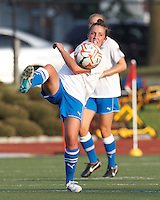 Boston Breakers forward Amanda DaCosta (5) passes the ball. In a Women's Premier Soccer League Elite (WPSL) match, the Boston Breakers defeated Western New York Flash, 3-2, at Dilboy Stadium on May 26, 2012.