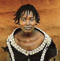 Portrait of Hamer tribeswoman in Turmi, Lower Omo Valley, Ethiopia