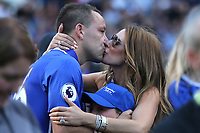 A kiss from Toni Terry, wife of John Terry after his emotional speech on the pitch during Chelsea vs Sunderland AFC, Premier League Football at Stamford Bridge on 21st May 2017
