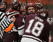 Kevin Lough (Colgate - 4), Luke Greiner (Harvard - 26), Tylor Spink (Colgate - 18) - The Harvard University Crimson defeated the Colgate University Raiders 4-1 (EN) on Friday, February 15, 2013, at the Bright Hockey Center in Cambridge, Massachusetts.