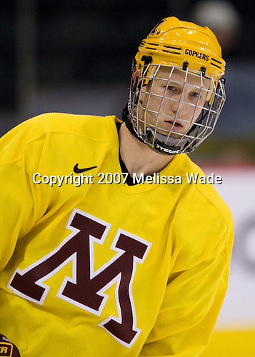 Ryan Flynn (Minnesota 22) takes part in the Gophers' morning skate at the Xcel Energy Center in St. Paul, Minnesota, on Friday, October 12, 2007, during the Ice Breaker Invitational.