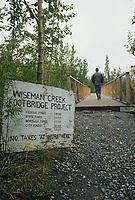 Old footbridge in the mining town of Wiseman, Arctic Alaska