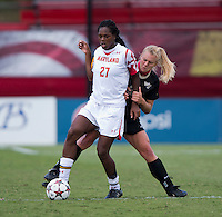 Hayley Brock (27) of Maryland fights for the ball with Caralee Keppler (20) of Wake Forest during the game at Ludwig Field in College Park, MD.  Maryland defeated Wake Forest, 1-0.
