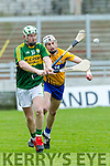 Kerry's Padraig Boyle and Clare's Conor Cleary at the Munster Hurling League match Kerry v Clare in Austin Stack Park on Sunday