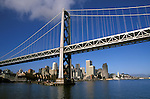 California, CA, San Francisco, Bay Bridge and skyline, between San Francisco and Oakland..Photo caggbr203.    .Photo Copyright: Lee Foster, www.fostertravel.com, 510-549-2202, lee@fostertravel.com