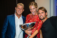 SURFERS PARADISE, Queensland/Australia (Friday, March 1, 2013) Mick Fanning (AUS) Stephanie Gilmore (AUS) and Damien Hobgood (USA). - The world's best surfers congregated last night at the QT Hotel in Surfers Paradise to celebrate the 2013 ASP World Surfing Awards, officially crowning last year's ASP World Champions and welcoming in the new year..Joel Parkinson (AUS), 31, long considered to be a threat to the ASP World Title ever since his inception amongst the world's elite over a decade ago, was awarded his maiden crown last night. Amidst a capacity crowd of the world's best surfers and hometown supporters, the Gold Coast stalwart brought the house down with a heartfelt and emotional speech..?It's beautiful to have everyone here tonight,? Parkinson said. ?We all come together and really celebrate last season amongst our friends and family. The new year, for me, begins tomorrow. Tonight, I just feel so fortunate to be up here and to be supported by my beautiful family. I love them and am only here because of them.?.FULL LIST OF AWARDS' RECIPIENTS:.2012 ASP World Champion: Joel Parkinson (AUS).2012 ASP World Runner-Up: Kelly Slater (USA).2012 ASP Rookie of the Year: John John Florence (HAW).2012 ASP Women's World Champion: Stephanie Gilmore (AUS).2012 ASP Women's World Runner-up: Sally Fitzgibbons (AUS).2012 ASP Women's Rookie of the Year: Malia Manuel (HAW).2012 ASP Breakthrough Performer: Sebastian Zietz (HAW).2012 ASP Women's Breakthrough Performer: Lakey Peterson (USA).2012 ASP World Longboard Champion: Taylor Jensen (USA).2012 ASP Women's World Longboard Champion: Kelia Moniz (HAW).2012 ASP World Junior Champion: Jack Freestone (AUS).2012 ASP Women's World Junior Champion: Nikki Van Dijk (AUS).ASP Life Member/Chairman Emeritus: Richard Grellman.ASP Service to the Sport: Randy Rarick.Peter Whittaker Award: Adrian Buchan.2012 ASP Men's Heat of the Year (Fan Vote): Mick Fanning (AUS) vs. Kelly Slater (USA) - Rip Curl Pro Bells Beach.2012 ASP Women's Heat of the Ye