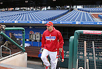 10/17/08 1:17:12 PM -- Philadelphia, PA, U.S.A. -- Philadelphia Phillies Shane Victorino steps out of the dugout before practice October 17, 2008 at Citizen's Bank Park in Philadelphia, Pennsylvania. Victorino showed the team that cast him aside that it made a costly error. The Philadelphia outfielder, who spent six years in the L.A. Dodgers' farm system, used key hits in pressure situations, including a triple, Game 4 eighth-inning homer and six RBI during the NLCS, to help the Phillies beat the Dodgers and reach their first World Series since 1993. -- ...Photo by William Thomas Cain, Freelance.