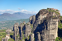 The Great Meteoron Monastery (Megalo Meteoro) and St Nicholas Anapafsas Monastery in the Meteora Monastery complex in Greece.