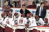 Brian Hurley (BC - Student Manager), David Cotton (BC - 17), Austin Cangelosi (BC - 9), Colin White (BC - 18), JD Dudek (BC - 15), Ryan Fitzgerald (BC - 19), Greg Brown (BC - Associate Head Coach), Ron Greco (BC - 28), Graham McPhee (BC - 27), Mike Ayers (BC - Assistant Coach), Mike Booth (BC - 12) - The Boston College Eagles defeated the visiting Providence College Friars 3-1 on Friday, October 28, 2016, at Kelley Rink in Conte Forum in Chestnut Hill, Massachusetts.The Boston College Eagles defeated the visiting Providence College Friars 3-1 on Friday, October 28, 2016, at Kelley Rink in Conte Forum in Chestnut Hill, Massachusetts.