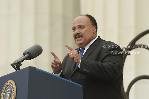 Martin Luther King III delivers remarks during the 'Let Freedom Ring' commemoration event, at the Lincoln Memorial in Washington DC, USA, 28 August 2013. The event was held to commemorate the 50th anniversary of the 28 August 1963 March on Washington led by the late Dr. Martin Luther King Jr., where he famously gave his 'I Have a Dream' speech.<br /> Credit: Michael Reynolds / Pool via CNP