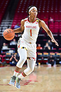 College Park, MD - NOV 16, 2016: Maryland Terrapins guard Ieshia Small (1) drives to the basket during game between Maryland and Maryland Eastern Shore Lady Hawks at XFINITY Center in College Park, MD. The Terps defeated the Lady Hawks 106-61. (Photo by Phil Peters/Media Images International)