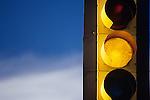 Traffic light yellow at intersection Woodinville Washington State USA