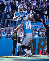 The Carolina Panthers defeated the Atlanta Falcons 34-10 in an inter-division rivalry played in Charlotte, NC at Bank of America Stadium.  Carolina Panthers tight end Greg Olsen (88) celebrates with Carolina Panthers tight end Ben Hartsock (84) after a touchdown catch.