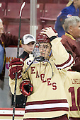Destry Straight (BC - 17) - The Boston College Eagles defeated the visiting Northeastern University Huskies 3-0 after a banner-raising ceremony for BC's 2012 national championship on Saturday, October 20, 2012, at Kelley Rink in Conte Forum in Chestnut Hill, Massachusetts.