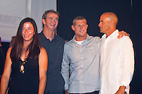 BELLS BEACH, Victoria/Australia (Friday, April 22, 2011) - Pauline Menczer (AUS), Mark Richards (AUS), Mick Fanning (AUS) and Kelly Slater (USA).  Last night celebrated 50-years of competitive surfing at the Rip Curl Pro and the Bells Beach Easter Rally at Bells Beach, Australia's ancestral home of surfing. To honour this milestone a 50 th Anniversary Surfers Ball was held at Surfworld in Torquay, with some of surfing's biggest names in attendance...Iconic names of the sport included Nat Young (AUS), four times World Surfing Champion Mark Richards(AUS), seven times World Surfing Champion Layne Beachley (AUS), two  times World Surfing Champion Tom Carroll (AUS), Damien Hardman (AUS), four times World Surfing Champion Stephanie Gilmore (AUS), former World Surfing Champion Mark Occhilupo (AUS), trhee times World Surfing Champion Tom Curren (USA) and  current ten times World Surfing Champion Kelly Slater  (USA) were on hand to pay homage to the longest running surfing event in the world. . - Photo: joliphotos.com