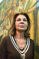Greek artist Sophia Vari, wife of Colombian sculptor and painter Fernando Botero attends a press conference of Botero know as  VIACRUCIS, passion of the Christ  at the Museum of Antioquia in Medellín, Colombia. 01/04/2012. Photo by Fredy Amariles / VIEWpress.