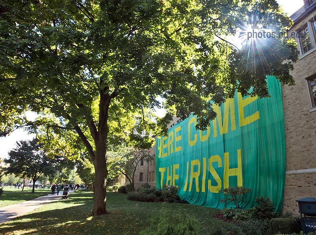 "Sept. 22, 2012; Zahm Hall is covered with its traditional ""Here Come The Irish"" sign...Photo by Matt Cashore/University of Notre Dame"