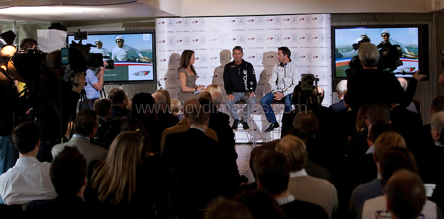 "Ben Ainslie, four time Olympic medallist pictured with Russell Coutts, head of Oracle Racing and current holder of the Americas Cup. .Presented by Annabel Croft in central London as he launches ""Ben Ainslie Racing"". A new team that will compete in 2012 Americas Cup World Series..Credit: Lloyd Images / Ben Ainslie Racing"