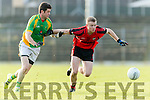 Kevin O' Sullivan Kenmare in action against Pat Connole Kilfenora in the Munster Intermediate Club Football Championship Semi-Final at Fitzgerald Stadium on Sunday.