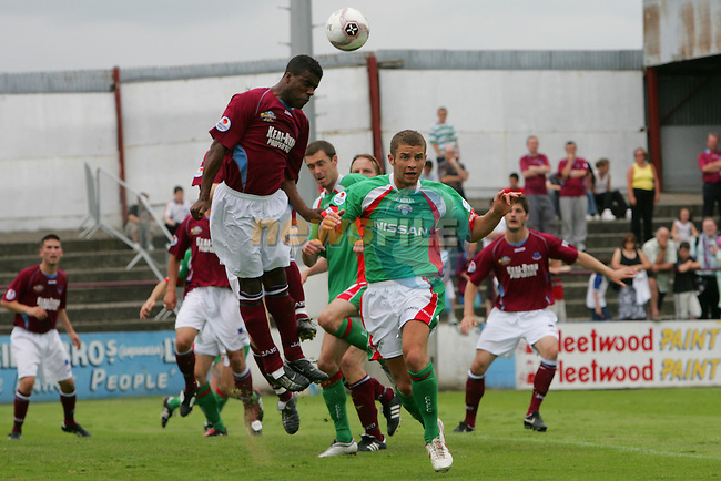 Action from Drogheda United V Cork Match in Drogheda, Jermaine Sandvliet heads the ball away from the Drogheda net..Photo NEWSFILE/FRAN CAFFREY..(Photo credit should read FRAN CAFFREY/NEWSFILE)...This Picture has been sent you under the condtions enclosed by:.Newsfile Ltd..the Studio,.Millmount Abbey,.Drogheda,.Co Meath..Ireland..Tel: +353(0)41-9871240.Fax: +353(0)41-9871260.GSM: +353(0)86-2500958.email: pictures@newsfile.ie.www.newsfile.ie.FTP: 193.120.102.198..This picture is from Fran Caffrey@newsfile.ie