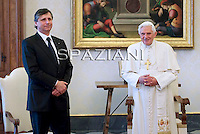Czech Prime Minister Jan Fischer  meets with Pope Benedict XVI in his private library at the Vatican on November 14, 2009 .