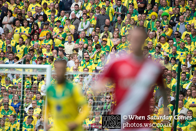 Norwich City 2 Middlesbrough 0, 25/05/2015. Wembley Stadium, Championship Play Off Final. Nervous Norwich supporters watch the action. A match worth £120m to the victors. On the day Norwich City secured an instant return to the Premier League with victory over Middlesbrough in front of 85,656. Photo by Simon Gill.