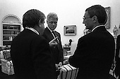 United States President Bill Clinton discusses the situation in Yugoslavia with his top advisors recently in the Oval Office of the White House in Washington, D.C. (L-R) National Security Advisor Sandy Burger, President Clinton, White House Chief of Staff John Podesta..Credit: The White House via CNP