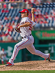 30 August 2015: Washington Nationals pitcher Jonathan Papelbon on the mound in the 9th inning, closing out a game against the Miami Marlins at Nationals Park in Washington, DC. The Nationals rallied to defeat the Marlins 7-4 in the third game of their 3-game weekend series. Mandatory Credit: Ed Wolfstein Photo *** RAW (NEF) Image File Available ***