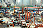 Asia, China; Shanghai. China's national bird, the crane, marks the irreversible growth and modernization of Shanghai and China.