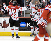 Brett Sonne (Canada - 12), Tyler Ennis (Canada - 22), Cody Goloubef (Canada - 17) - Team Canada defeated the Czech Republic 8-1 on the evening of Friday, December 26, 2008, at Scotiabank Place in Kanata (Ottawa), Ontario during the 2009 World Juniors U20 Championship.