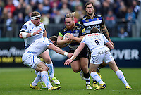 Ross Batty of Bath Rugby takes on the Exeter defence. Aviva Premiership match, between Bath Rugby and Exeter Chiefs on October 17, 2015 at the Recreation Ground in Bath, England. Photo by: Patrick Khachfe / Onside Images