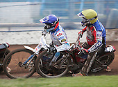 Heat 4 - Hurry (yellow), Simota (blue) - Reading Bulldogs vs Lakeside Hammers - Elite League Speedway at Smallmead, Reading- 23-04-07 - MANDATORY CREDIT: Gavin Ellis/TGSPHOTO - IMAGES USED WILL BE INVOICED AT STANDARD RATES..