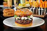 Bourbon Steak House Hamburger with Onion Rings and French Fries at the Fairmont Scottsdale Princess Resort in Scottsdale, Arizona