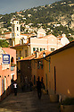 Colorful streets of Villefranche near Nice in the South of France.