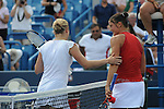 Former world No.1 Kim Clijsters (left) and Current No.1 Dinara Safina at the Western & Southern Financial Group Maters and Women's Open, Cincinnati 2009. Part of the U.S. Open Series.