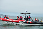 Emirates Team New Zealand guests watching the racing from a team chase boat. America's Cup World Series, San Francisco. 23/8/2012