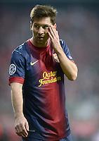 FUSSBALL  CHAMPIONS LEAGUE  HALBFINALE  HINSPIEL  2012/2013      FC Bayern Muenchen - FC Barcelona      23.04.2013 Lionel Messi (Barca)