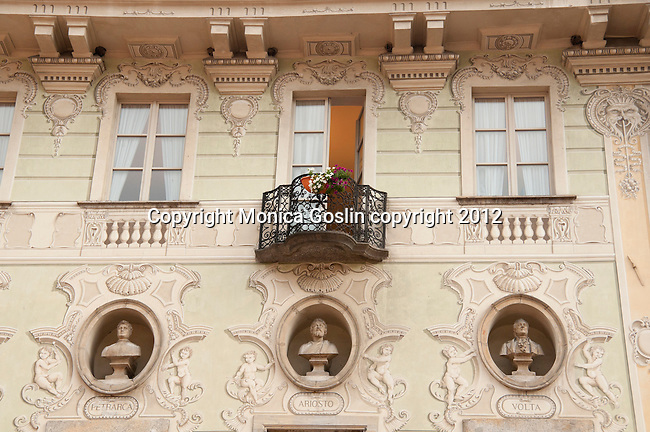 A painted and decorated building in the historical downtown Bellinzona, Switzerland