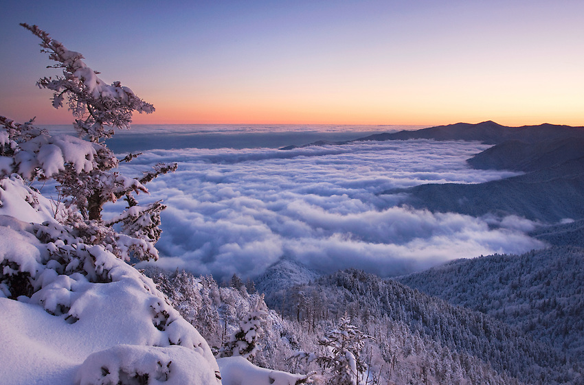 """MOUNT LECONTE WINTER"" - A winter sunrise from near the summit of Mount LeConte in Great Smoky Mountains National Park, Tennessee."