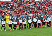 24 March 2012: The Toronto FC team during the opening ceremonies in a game between the San Jose Earthquakes and Toronto FC at BMO Field in Toronto..The San Jose Earthquakes won 3-0..