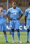 12 November 2008: UNC's Jordan Graye. The University of Maryland defeated the University of North Carolina 1-0 at Koka Booth Stadium at WakeMed Soccer Park in Cary, NC in a men's ACC tournament quarterfinal game.