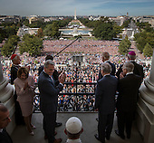 Pope Francis, foreground center, arrives  along with House and Senate leadership as well as local clergy on the balcony of the Speaker of the House after he delivered an address to a joint session of Congress on September, 24, 2015 in Washington, DC.<br /> Credit: Bill O'Leary / Pool via CNP