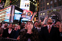 Times Square anticipates Barack Obama's US presidential election win with 349 electoral votes to John McCain's 162 electoral votes, New York, New York, November 4, 2008. 270 electoral votes determine a winner.