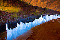 Ice forms along a spring   Arches National Park, Utah Inside lage cave in winter